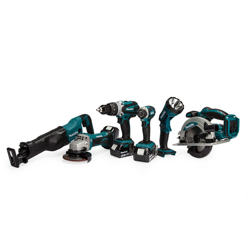 Makita DLX6045M 18V 6 Piece Kit - DTD152 Impact Driver, DHP458 Combi Drill, DGA452 Angle Grinder, DJR186 Reciprocating Saw, DSS610 Circular Saw & DML185 Torch (3 x 4.0Ah Batteries)
