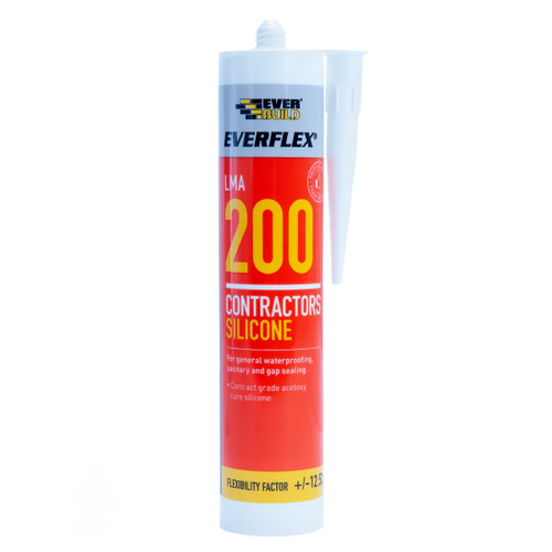 Everbuild 200WE Everflex 200 Contractors LMA Silicone White 295ml