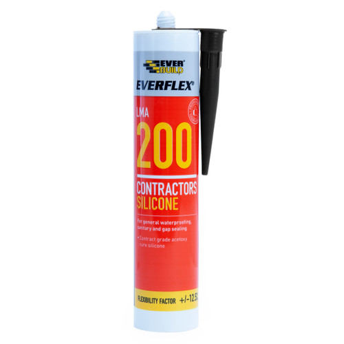 Everbuild 200BK Everflex 200 Contractors LMA Silicone Black 295ml
