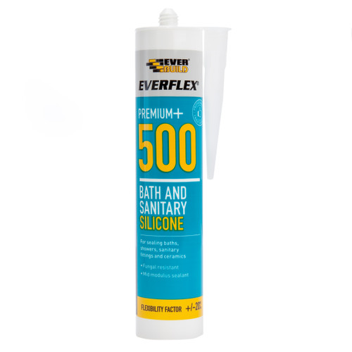 Everbuild 500TR Everflex 500 Bath and Sanitary Silicone Clear 295ml