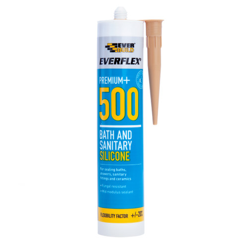 Everbuild 500SAND Everflex 500 Bath and Sanitary Silicone Sand 295ml