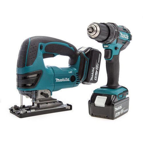 Makita DLX2134TJ 18V Twin Pack - DHP482 Combi Drill + DJV180 Jigsaw (2 x 5.0Ah Batteries)