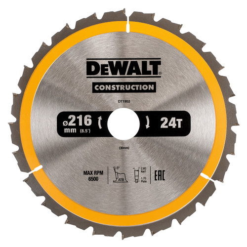 Dewalt DT1952 Construction Circular Saw Blade 216mm x 30mm x 24T