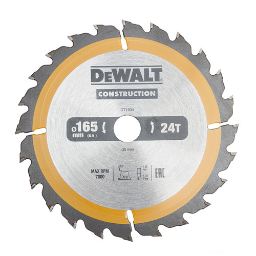 Dewalt DT1934-QZ Construction Circular Saw Blade 165 x 20mm x 24T (AC)