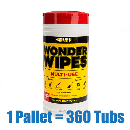Everbuild WIPE80 Wonder Wipes Trade Tub 100 Wipes (Pallet of 360 Tubs)