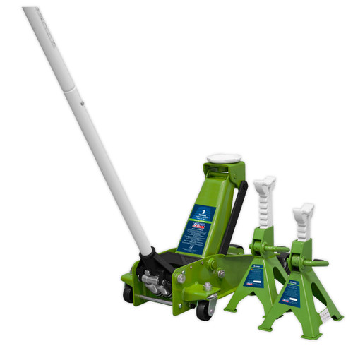 Sealey 3015CXHV Trolley Jack 3tonne Super Rocket Lift & Axle Stands (Pair) 3tonne Capacity per Stand-Hi-Vis