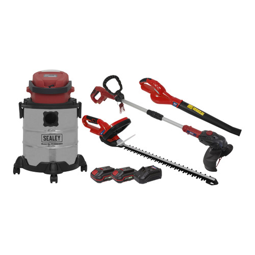 Sealey CP20VCOMBO3 20V Garden Power Tool Kit 4 Piece (1 x 2Ah + 1 x 3Ah Batteries)