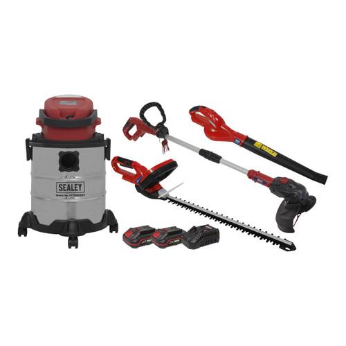 Sealey CP20VCOMBO3 20V Garden Power Tool Kit 4 Piece (1 x 2Ah + 1 x 3Ah Batteries)