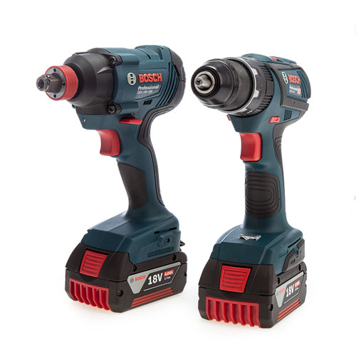 Bosch 06019G5275 Professional Twin Pack - GSB18V-28 Drill Driver + GDX 18V-180 Impact Wrench (2 x 4.0Ah Batteries) 1