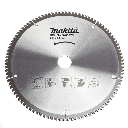 Makita D-03975 Mitre Saw Blade 260mm x 30mm x 100T 1