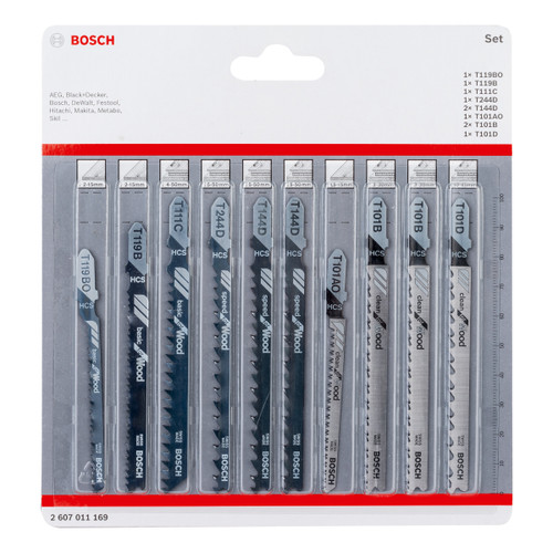 Bosch 2607011169 Jigsaw Blades Set for Wood (Pack Of 10)