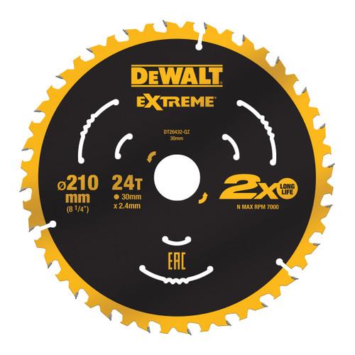 Dewalt DT20432 Extreme Circular Saw Blade 210mm x 30mm x 24T 1