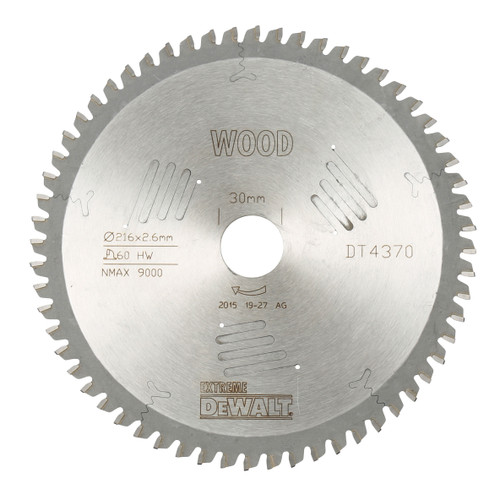 Dewalt DT4370 Extreme Workshop Saw Blade 216mm x 30mm x 60T 1