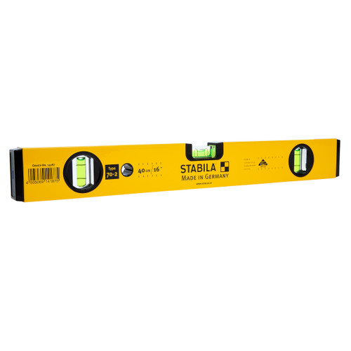 "Stabila 400mm / 16"" Spirit Level Type 70-2 3 Vials (14187 / STB70-2-40)"