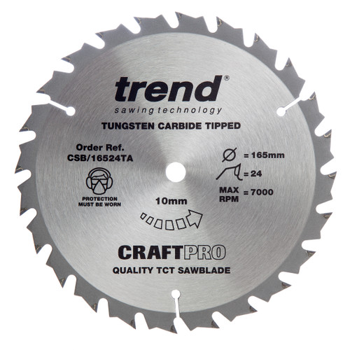 Trend CSB/16524TA CraftPro Saw Blade 165mm x 10mm x 24T