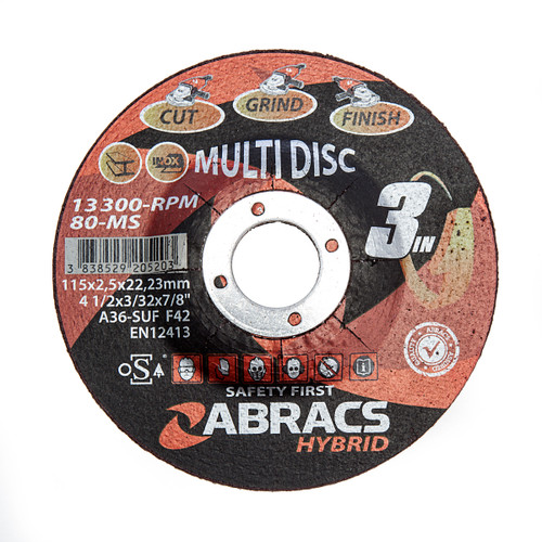 """Abracs HY11525DM Hybrid """"3IN1"""" Metal Cutting Discs with DPC Centre 115 x 2.5 x 22mm (Pack of 25) 1"""