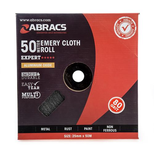 Abracs ABER2550080 Emery Cloth Roll 25mm x 50m x 80 Grit