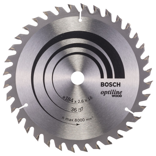 Bosch 2608640818 Optiline Circular Saw Blade for Wood 184mm x 16mm x 36T