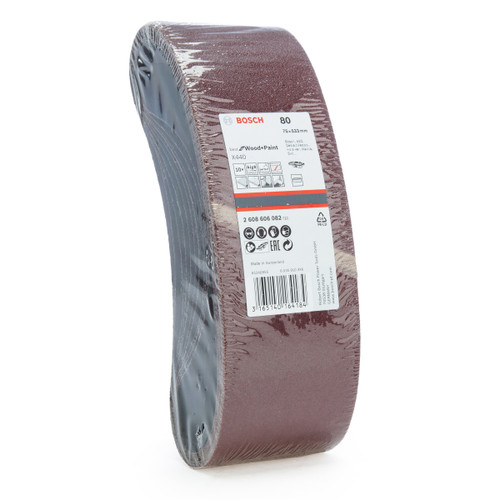Bosch 2608606082 Sanding Belts X440 Best for Wood and Paint 75 x 533mm 80 Grit (Pack Of 10)