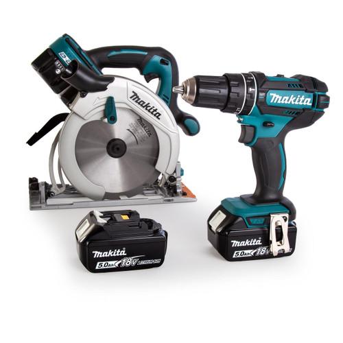 Makita DLX2140PTJ 18/36V Twin Pack - DHS710 36V Circular Saw + DHP482 18V Combi Drill (4 x 5.0Ah Batteries)