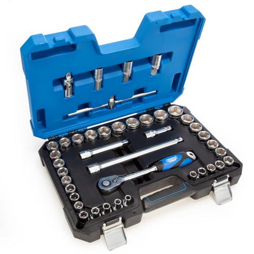 """Draper 16453 Combined Socket Set 1/2"""" Square Drive MM/AF (41 Piece)"""