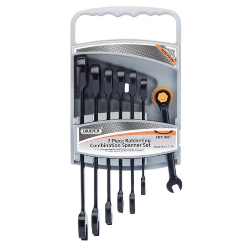 Draper 51178 Hi-Torq Metric Ratcheting Combination Spanner Set (7 Piece)