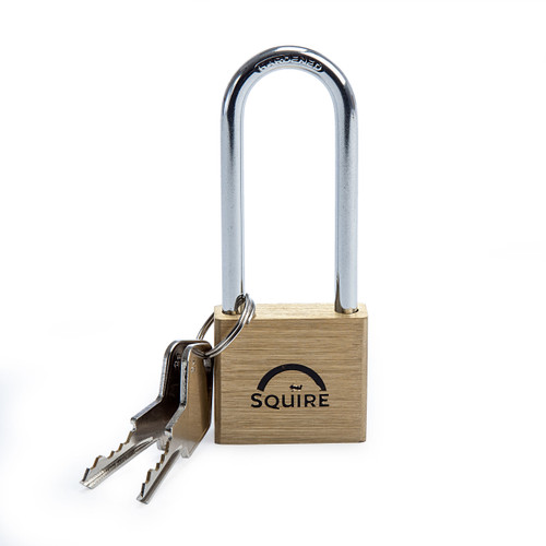 Henry Squire LN4/2.5 Brass Double Locking Long Shackle Padlock 40mm 1