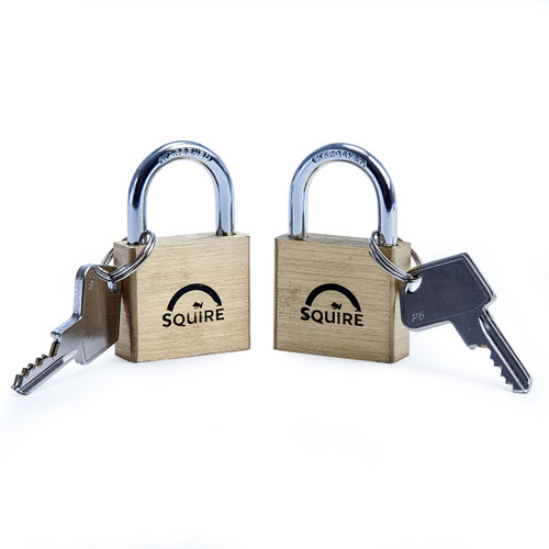 Henry Squire LN4T Double Locking Brass Padlock 40mm (Pack of 2) 1