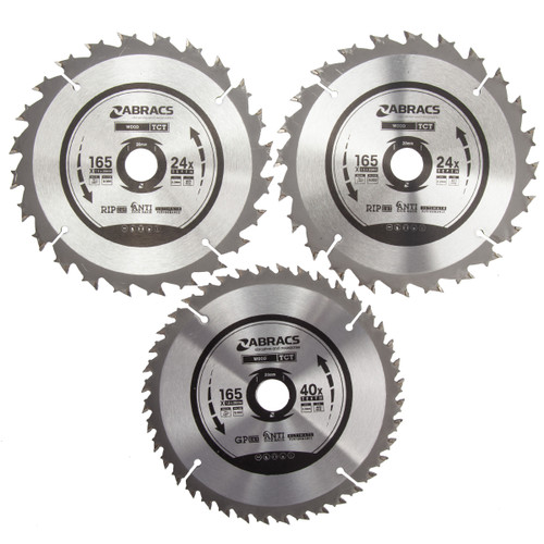 Abracs TCT1653 TCT Circular Saw Blades 165mm x 20mm (Pack Of 3)