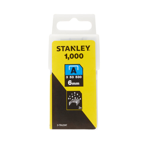Stanley 0-TRA204T Light Duty Staples 6mm (Pack of 1000)
