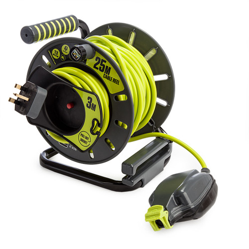 Masterplug OMU2513FL31P Reverse Open Reel High Visibility Cable 25 Metres 240V 1