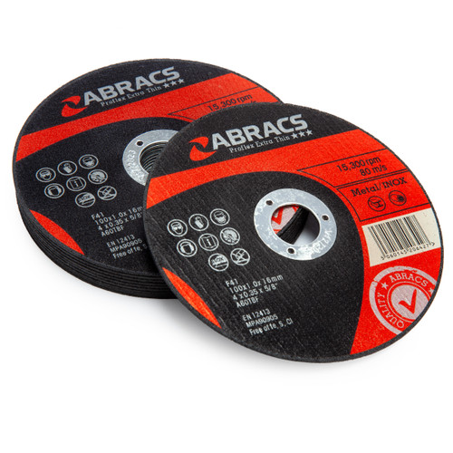 Abracs Proflex Extra Thin Metal Cutting Discs 100mm x 1mm (10 Pack)