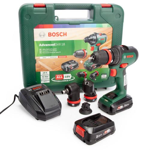 Bosch AdvancedDrill 18 18V Drill Driver with 3 Adaptors (2x 2.5Ah Batteries) 2