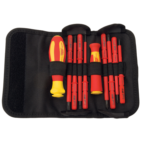 Draper 5721 Ergo-Plus Vde Approved Fully Insulated Interchangeable Blade Screwdriver Set (10 Piece)