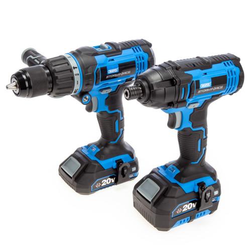 Draper 40448 Storm Force 20V Combi Drill & Impact Driver Twin Pack (2 x 2.0Ah & 1 x 4.0Ah Batteries)