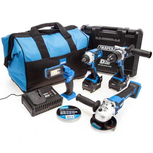 Draper 90470 D20 20V 4 Piece Kit (1 x 3.0Ah & 1 x 4.0Ah Battery) 2