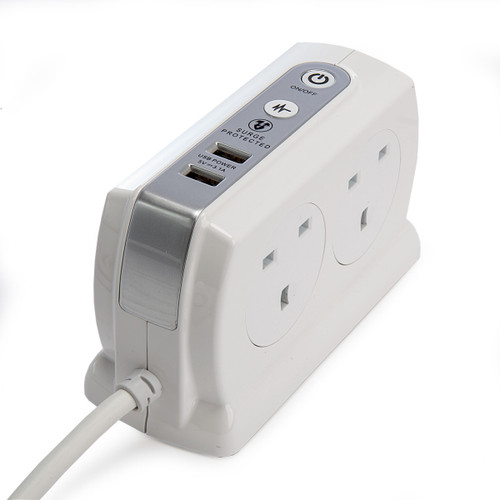 Masterplug SRGDSU42PW 4 Gang Surge Protected Extension Lead + 2 USB Ports White 1
