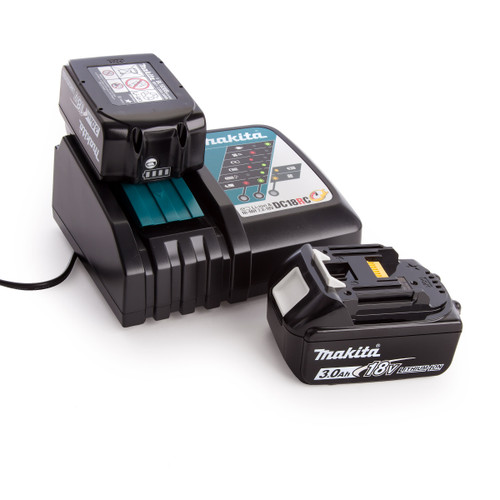 Makita 2 x BL1830B Batteries and DC18RC Fast Charger 1