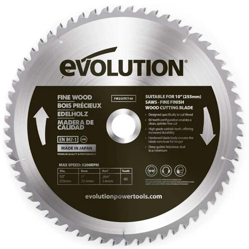 Evolution FW255TCT-60 Fine Wood Blade 255mm x 25.4mm x 60T 1
