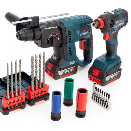 Bosch 18V 2 Piece Construction Kit with Accessories (2 x 4.0Ah Batteries)