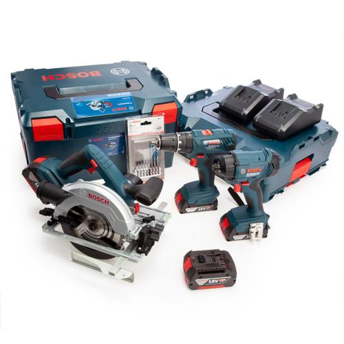 Bosch 18V 3 Piece Kit with Accessories (2 x 2.0Ah + 2 x 4.0Ah Batteries) 2