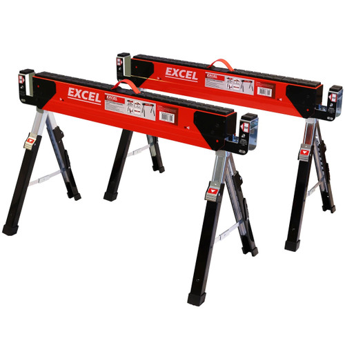 Excel 6288 Heavy Duty Steel Folding Sawhorse with Adjustable Legs Twin Pack 1178kg Capacity