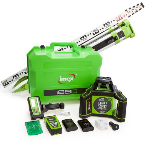 Imex 012-IO88GRX10-KIT, Rotating Green Laser, Detector, Tripod, Staff (2 x 9.0Ah Batteries)