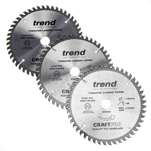 Trend CSB/160 Craft Saw Blade 160mm x 20mm x 48T (Pack of 3) 1