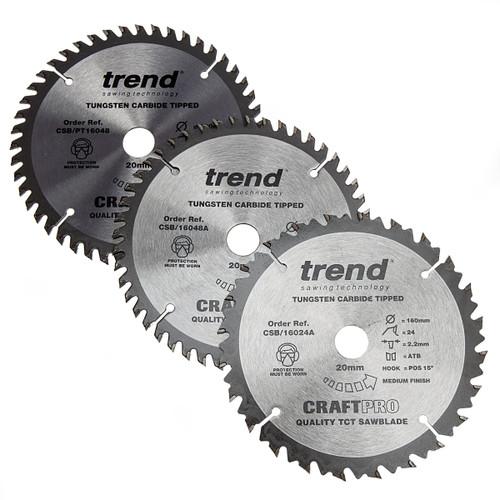 Trend CSB/160 CraftPro Saw Blade 160mm x 20mm x 24T & 48T (Pack of 3) 1