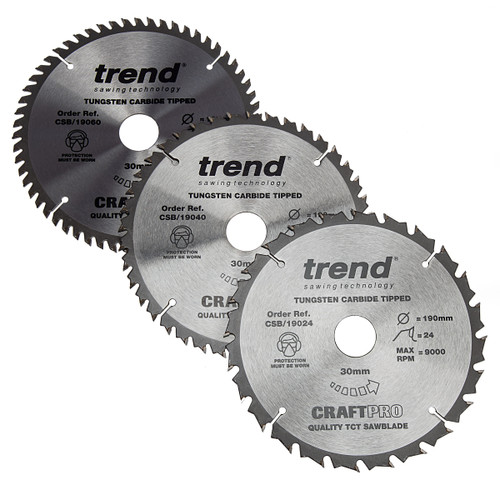 Trend CSB/190 CraftPro Saw Blade 190mm x 30mm x 24T, 40T & 60T (Pack of 3) 1