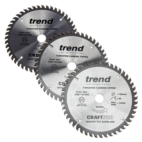 Trend CSB/165 CraftPro Saw Blade 165mm x 20mm x 48T (Pack of 3) 1
