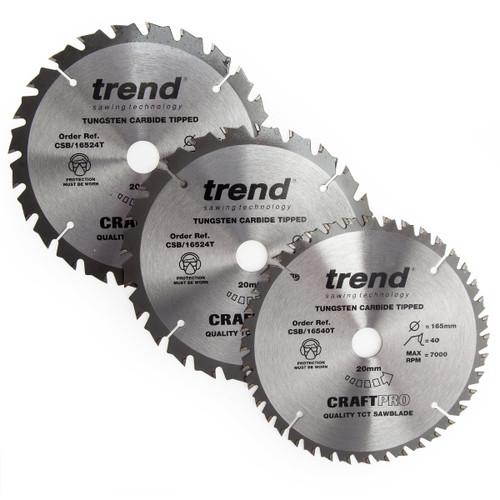 Trend CSB/165/3PK/C CraftPro Saw Blades 165mm x 20mm x 24T+40T (Pack of 3)