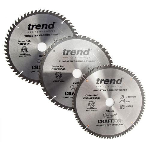 Trend CSB/250/3PK CraftPro Saw Blade 250mm x 48T+60T+84T (Pack of 3)