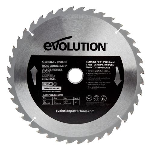 Evolution GW255TCT-40 General Wood Blade 255mm x 25.4mm x 40T